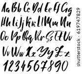 hand drawn font. modern dry... | Shutterstock .eps vector #619747829