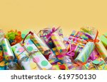 celebratory crackers with... | Shutterstock . vector #619750130