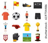 soccer icons set football.... | Shutterstock .eps vector #619754486
