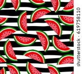 watermelon seamless pattern. | Shutterstock .eps vector #619758110