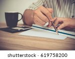 architect or engineer working... | Shutterstock . vector #619758200