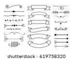 big set of decorative elements. ... | Shutterstock .eps vector #619758320