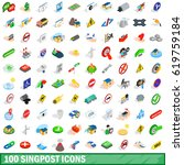 100 signpost icons set in... | Shutterstock .eps vector #619759184