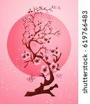 cherry blossom background.... | Shutterstock .eps vector #619766483