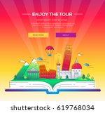 enjoy the tour   modern vector... | Shutterstock .eps vector #619768034