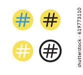 hashtag sign  vector icon  on... | Shutterstock .eps vector #619773110