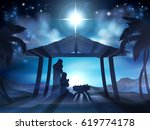 christian christmas nativity... | Shutterstock . vector #619774178