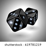 black dices with diamonds. a... | Shutterstock .eps vector #619781219