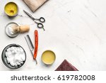 tools for shaving in barbershop ... | Shutterstock . vector #619782008