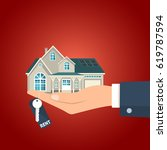 hand  holding residential... | Shutterstock .eps vector #619787594
