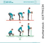 proper lifting technique and... | Shutterstock .eps vector #619794134