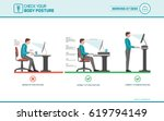 correct sitting at desk posture ... | Shutterstock .eps vector #619794149