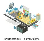 taxi future gadgets isometric... | Shutterstock .eps vector #619801598
