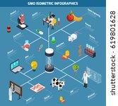 gmo isometric infographics... | Shutterstock .eps vector #619801628