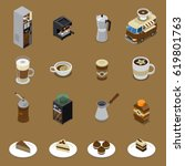 coffee isometric set with... | Shutterstock .eps vector #619801763