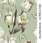 hand painting white tulips on... | Shutterstock . vector #619811768