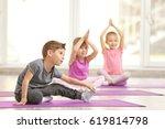group of children doing... | Shutterstock . vector #619814798