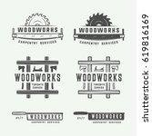 set of vintage carpentry ... | Shutterstock .eps vector #619816169