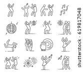 set of dancing related vector... | Shutterstock .eps vector #619817048