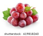 ripe fresh wet red grape with... | Shutterstock . vector #619818260