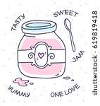 vector illustration of pink... | Shutterstock .eps vector #619819418