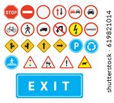 traffic signs vector | Shutterstock .eps vector #619821014