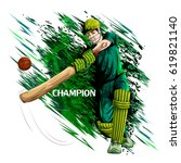 concept of sportsman playing... | Shutterstock .eps vector #619821140