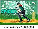 concept of sportsman playing... | Shutterstock .eps vector #619821239