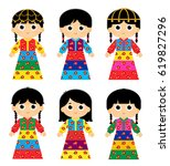 set of girls are wearing an old ... | Shutterstock .eps vector #619827296