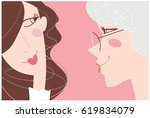 mother and daughter portrait.... | Shutterstock .eps vector #619834079