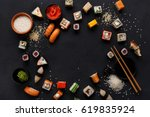 sushi and rolls background ... | Shutterstock . vector #619835924