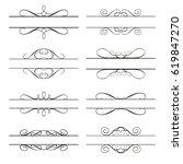 calligraphy elements dividers...   Shutterstock .eps vector #619847270