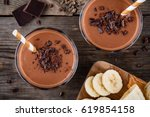 chocolate smoothie with banana... | Shutterstock . vector #619854158
