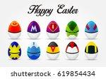 happy easter. set of easter... | Shutterstock .eps vector #619854434