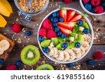 breakfast bowl  granola with...   Shutterstock . vector #619855160