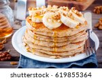 breakfast oatmeal pancakes with ... | Shutterstock . vector #619855364