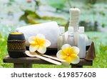 close up spa massage compress...   Shutterstock . vector #619857608