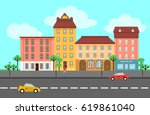 colorful spring city landscape... | Shutterstock .eps vector #619861040