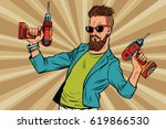 hipster repairman with a drill. ... | Shutterstock .eps vector #619866530