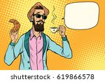 hipster with coffee and... | Shutterstock .eps vector #619866578