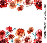 Floral Background With Hand...