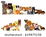 border of dogs and cats... | Shutterstock .eps vector #619875158