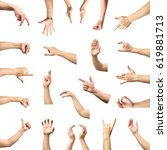 male hand gesture and sign... | Shutterstock . vector #619881713