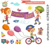 happy children. children day.... | Shutterstock .eps vector #619882319