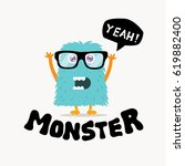 cute monster logo template.... | Shutterstock .eps vector #619882400