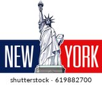 statue of liberty  usa symbol ... | Shutterstock .eps vector #619882700