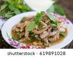 sliced grilled pork salad ... | Shutterstock . vector #619891028