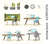set of office tables. cartoon... | Shutterstock .eps vector #619891076
