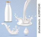 realistic vector glass milk... | Shutterstock .eps vector #619895240