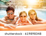happy family playing in... | Shutterstock . vector #619898348